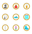 surfing icons set cartoon style vector image