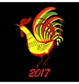 Color fire cock on black background Chinese vector image