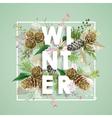 Winter Christmas Design in Winter Flowers vector image