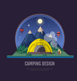flat style design mountains landscape and camping vector image