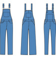 jean overalls set vector image vector image