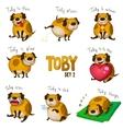 Cute cartoon dog Toby Set 2 vector image