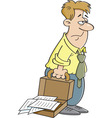 Cartoon tired man carrying a briefcase vector image