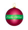 happy holidays on striped ornament vector image