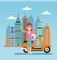 happy woman with scooter city background vector image