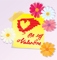Valentines Day sketch with daisy flowers vector image