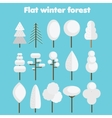 White trees Flat icons set winter forest symbols vector image