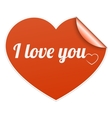 Words I Love You on heart symbol vector image