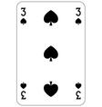 Poker playing card 3 spade vector image