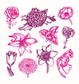 beautiful flowers - color hand drawn vector image
