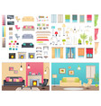 modern interiors of different comfortable flats vector image