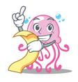 with menu cute jellyfish character cartoon vector image
