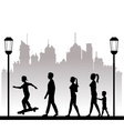 people walking recreation city park lamppost vector image