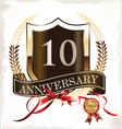 10 years anniversary golden label vector image vector image