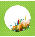 Template with Easter eggs flowers and cake vector image
