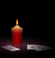 burning candle and cards vector image vector image