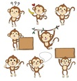 cute monkey characters set vector image