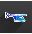Map marker with icon of a helicopter vector image
