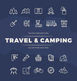 travel and camping line icons set vector image