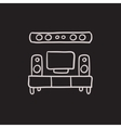 TV flat screen and home theater sketch icon vector image