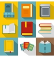 Reading icons set flat style vector image vector image