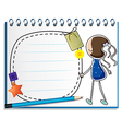 A notebook with a sketch of a girl in a blue dress vector image