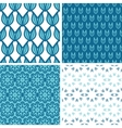 Four abstract blue tulip shapes seamless patterns vector image vector image