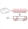 Public transportation vs private transportation vector image