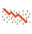 arrow down crisis economy people crowd around vector image