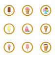different ice cream icons set cartoon style vector image