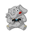 elephant playing video games joystick gamepad vector image