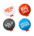 realistic 3d sale discount color circle button vector image
