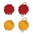 seal wax set in red and gold color vector image