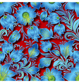 seamless blue floral ornament on red background vector image