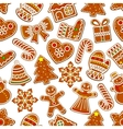 Ginger cookie Christmas dessert seamless pattern vector image