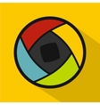 Semi-closed lens icon flat style vector image