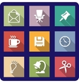 Office icons on coloured backgrounds vector image vector image