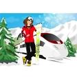 woman in mountain resort vector image