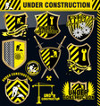 under construction shield - set vector image vector image