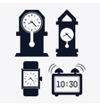icon set of silhouette Clocks Time design vector image