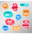 Set of colorful sale labels balloon speech bubbles vector image