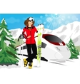 woman in mountain resort vector image