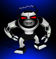 Robot attack warrior with red eyes vector image