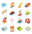 Amusement park isometric 3d icons vector image