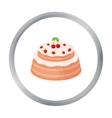 Cake with cherry icon in cartoon style isolated on vector image
