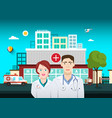 doctors with hospital building on background vector image
