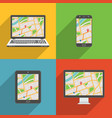flat design long shadow styled modern icon vector image