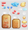 realistic drugs and pills icon set vector image