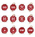 seal wax set in red color with icon on it vector image