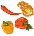 set of peppers on white background vector image